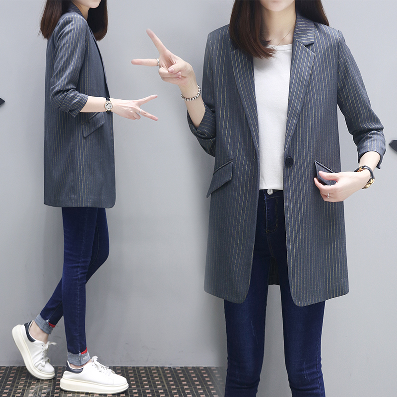 Spring and autumn 2020 new top Korean casual style suit for womens middle school long seven point Sleeve Striped Blazer
