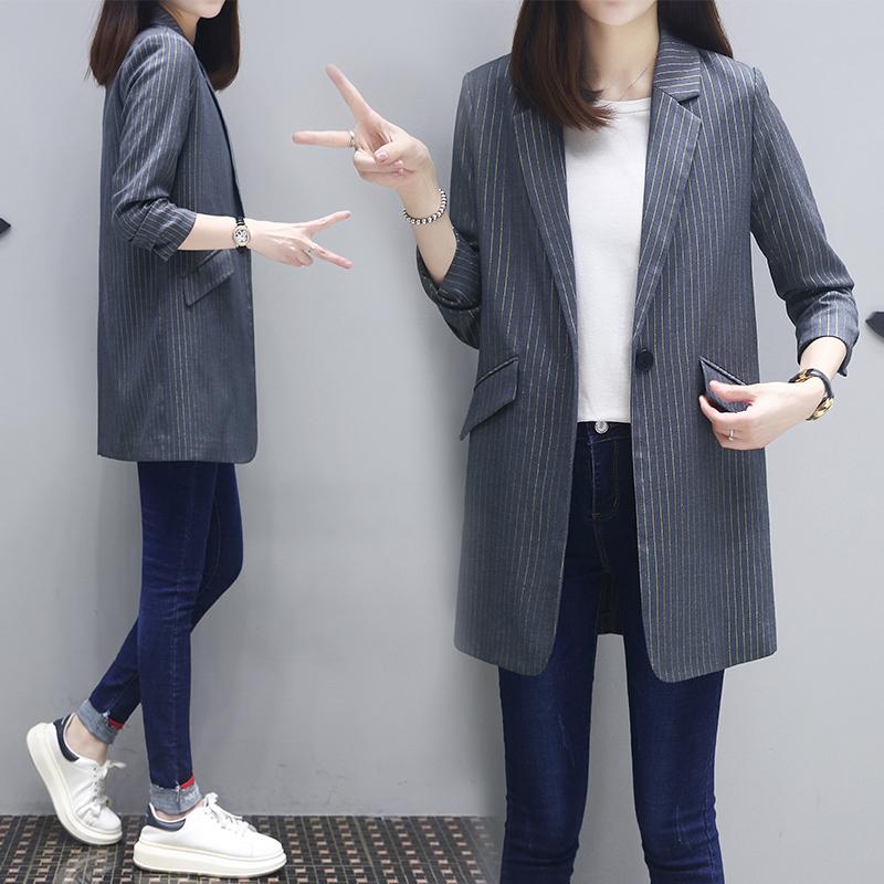 2021春季新款上衣韩版休闲气质西服女中长款七分袖条纹小西装外套
