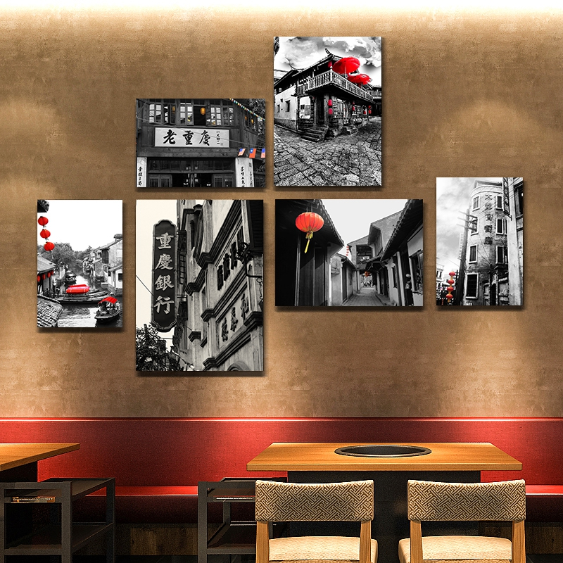 Chongqing old photo hanging painting hotel wall painting hot pot shop decorative painting Retro Old City street mural restaurant decorative painting