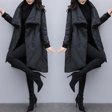 2018新款女装冬宽松大码中长款羽绒服女黑色显瘦pu皮斗篷外套加厚