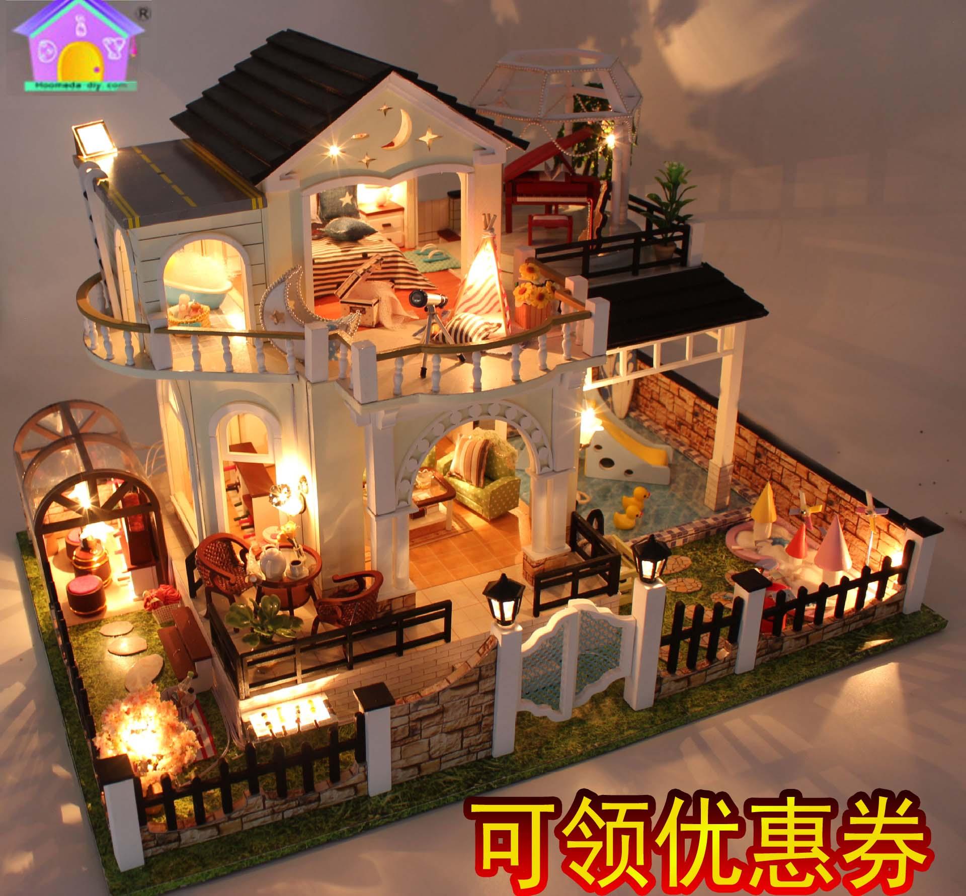 弘达diy小屋花好月圆拼装创意模型玩具圣诞生日情人节礼物包邮