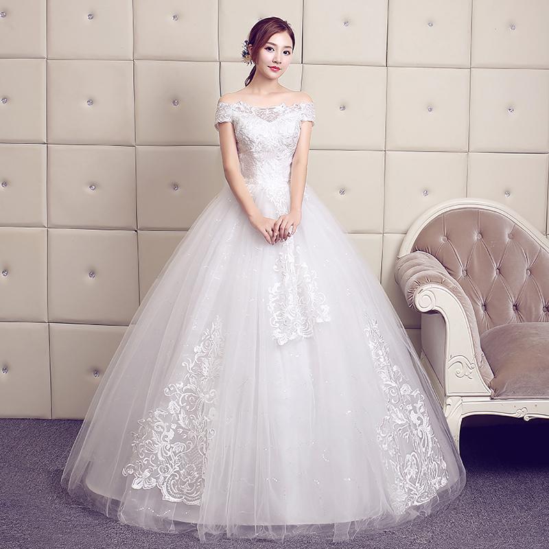 一字肩主婚纱礼服2020新款女新娘结婚齐地大码森系简约孕妇长拖尾图片