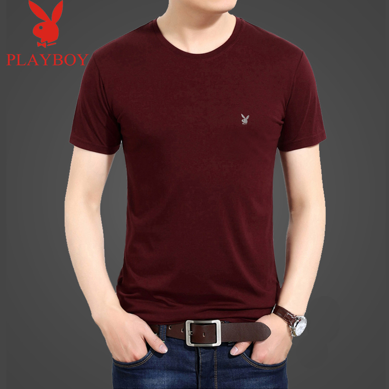 Playboy summer short sleeve t-shirt mens middle-aged pure cotton loose mens round neck solid thin half sleeve cotton