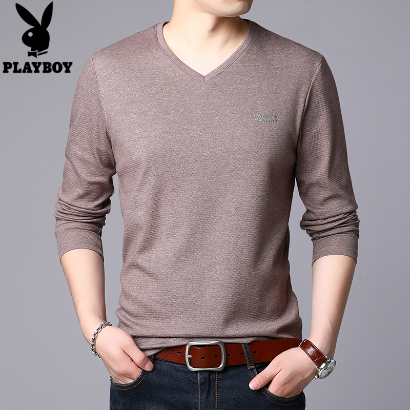 Playboy spring and autumn new long sleeve t-shirt mens long sleeve V-neck Korean slim top solid color T-shirt