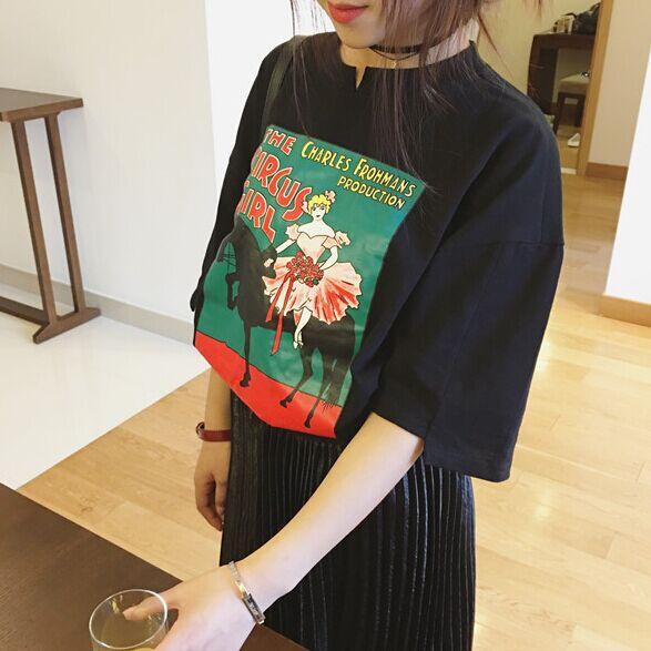 Korea Dongdaemun, обдумывал Ветер мультфильм печати картина коротким рукавом t местные женский Joker свободные рубашки в конце лета от перенапряжения
