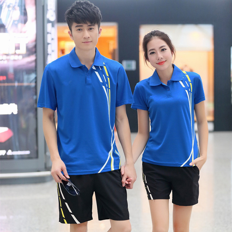 Mens and womens summer lovers Lapel short sleeve sports T-shirt quick drying tennis suit badminton match suit table tennis suit