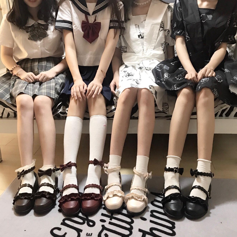 鞋日系花边圆头学生鞋Lolita绵羊泡芙原创低跟梅露露现货