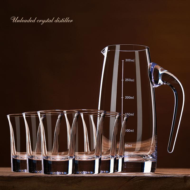 家用水晶白酒杯酒具套装烈酒杯一口杯玻璃小喝酒杯子弹杯带分酒器
