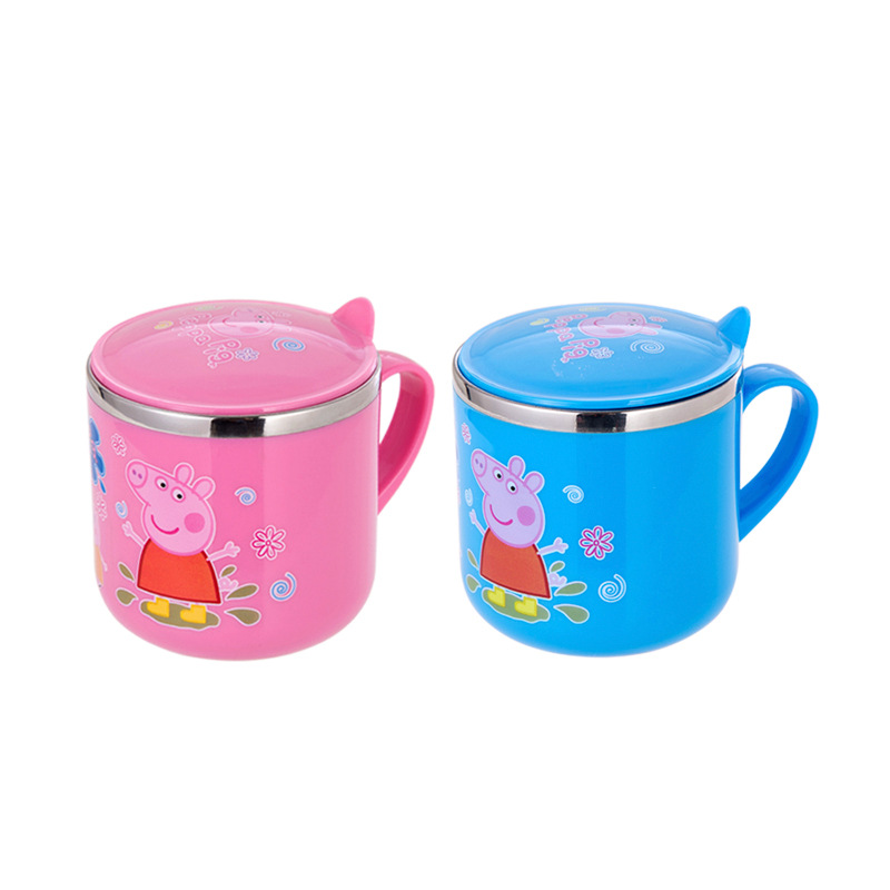 304不锈钢儿童水杯小猪佩琪卡通杯子 双层防烫带手柄口杯礼品赠品