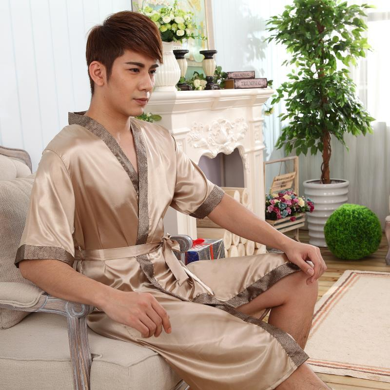Ice silk nightgown mens summer long sleeve short sleeve thin silk bathrobe bathrobe mens long sexy Pajama home clothes