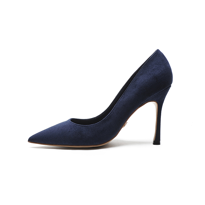 黑色高跟鞋女 细跟2019新款百搭职业春秋气质尖头酒红绒面单鞋8cm