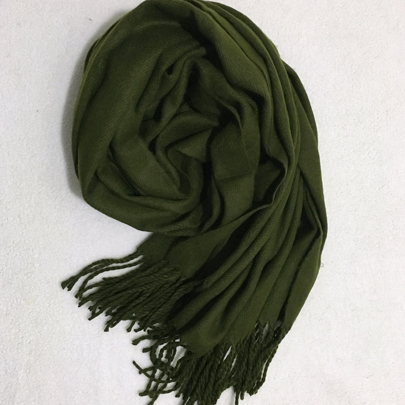 New mens pure color army green scarf Korean version autumn and winter thickened warm womens shawl dual purpose long student