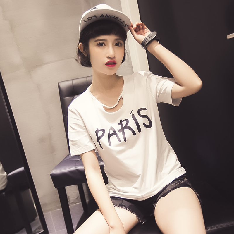 2017夏装新款韩版领口镂空字母印花宽松T恤女短袖圆领纯棉减龄潮