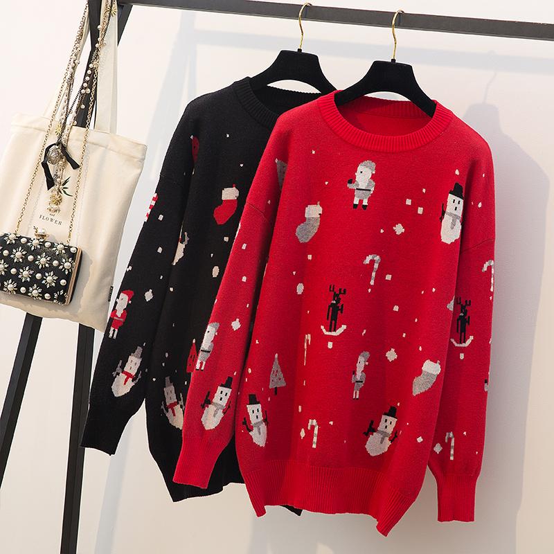 实拍大码女装胖妹妹2018新款韩版宽松圣诞节毛衣女长袖圆领针织衫
