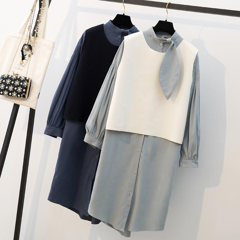 实拍大码女装胖MM2019春装新款休闲显瘦中长款衬衫裙子+毛呢背心