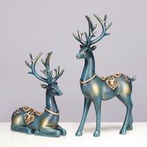 欧式招财麋鹿摆件家居装饰品客厅电视柜酒柜玄关工艺品家装办公室
