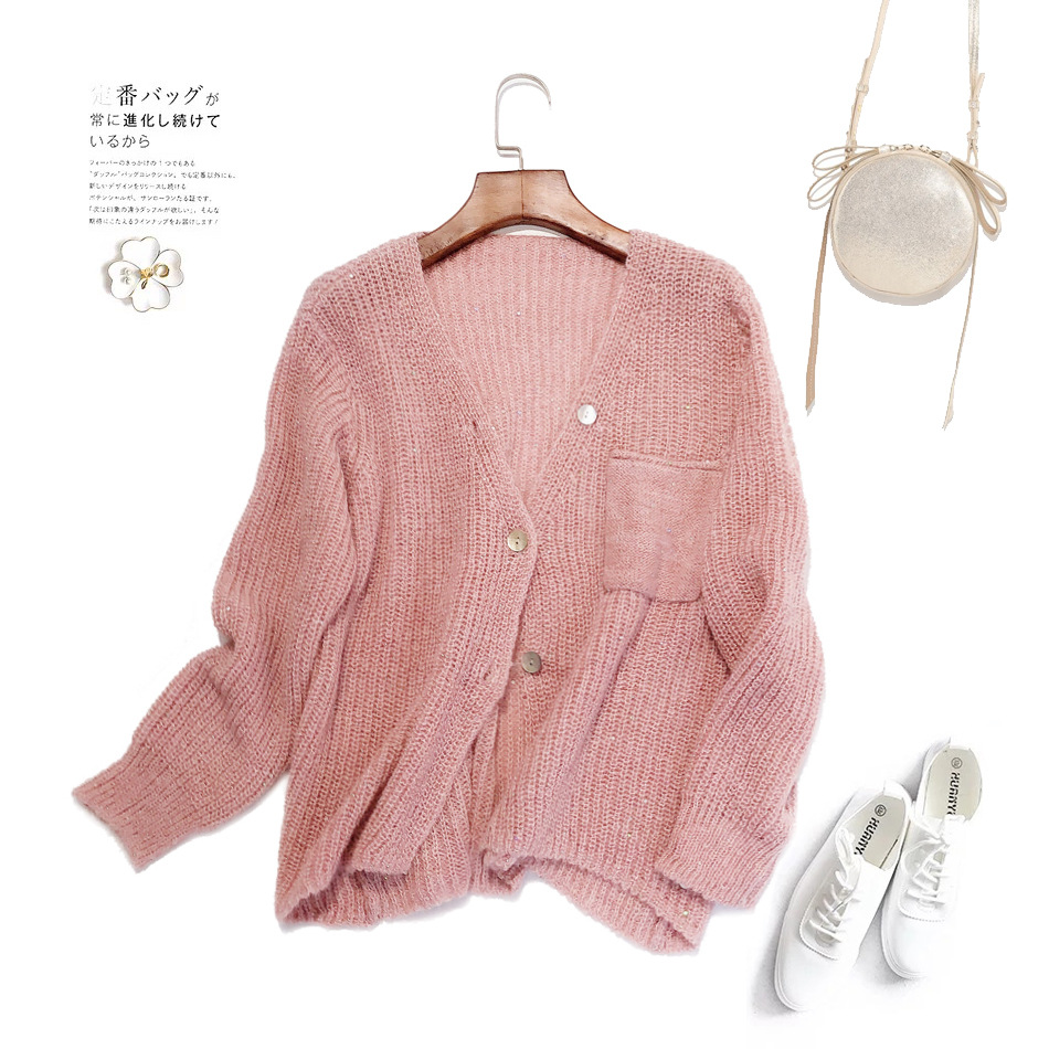 Mohair blended knitted cardigan spring and autumn new fresh sweet V-neck loose lazy wind jacket