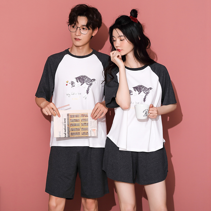 Cartoon new couple pajamas short sleeve pure cotton cute two piece set womens summer thin clothes can be worn at home