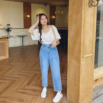 肉卷大码女装2021新款牛仔裤春季遮胯直筒胖mm显瘦裤子高腰设计感