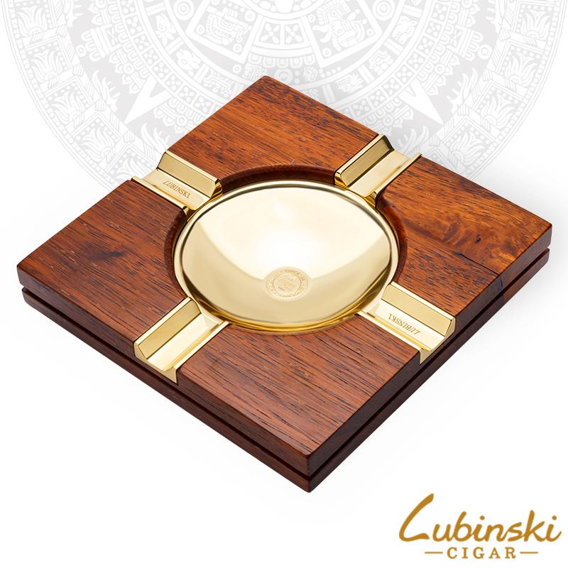 LUBINSKI雪茄烟灰缸实木四槽专用烟缸复古创意个性高档鸡翅木烟具