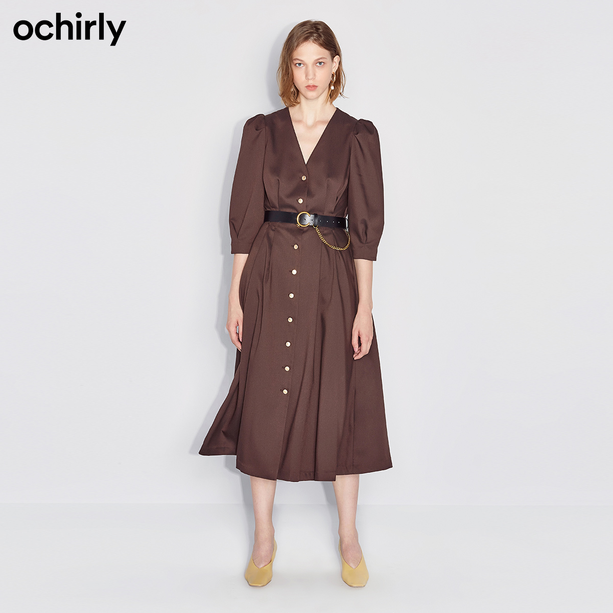 Ochirly 2020 new winter wear, breasted waist and thin French dress female 1RY4082780