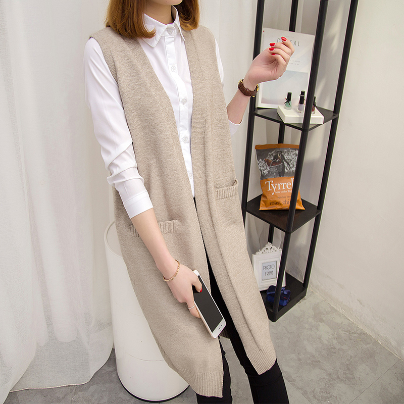 2020 spring new Korean version loose medium length knitted vest vest vest vest sleeveless cardigan sweater coat