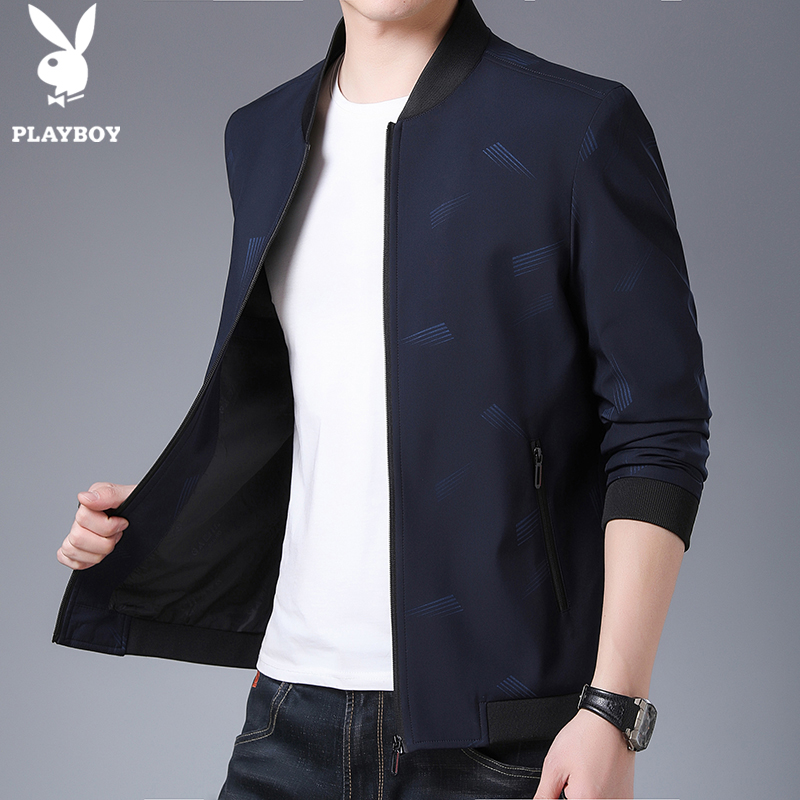 Playboy spring jacket mens youth vertical collar loose casual thin jacket mens wear in spring and Autumn