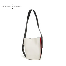 Jessie & Jane women's bag popular new style bucket bag 2349 fashion color contrast sub mother bag wide shoulder belt messenger bag