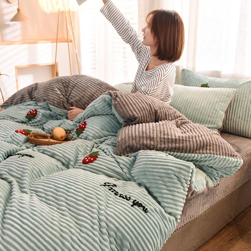 珊瑚绒四件套全棉纯棉魔法绒毛巾绣床上用品网红款床单被套(非品牌)