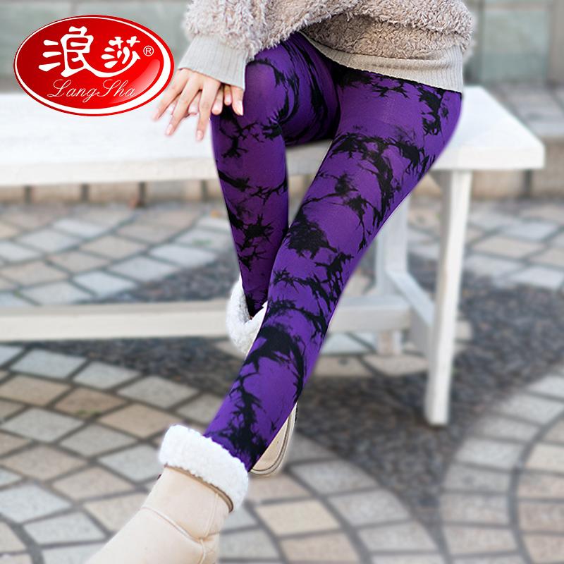 浪莎保暖裤3600D炫彩植绒假透肉双层打底裤秋冬季美腿外穿秋裤女