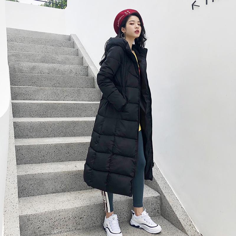 2018冬季新款韩版连帽修身加厚长款过膝女棉衣棉袄羽绒棉服外套24