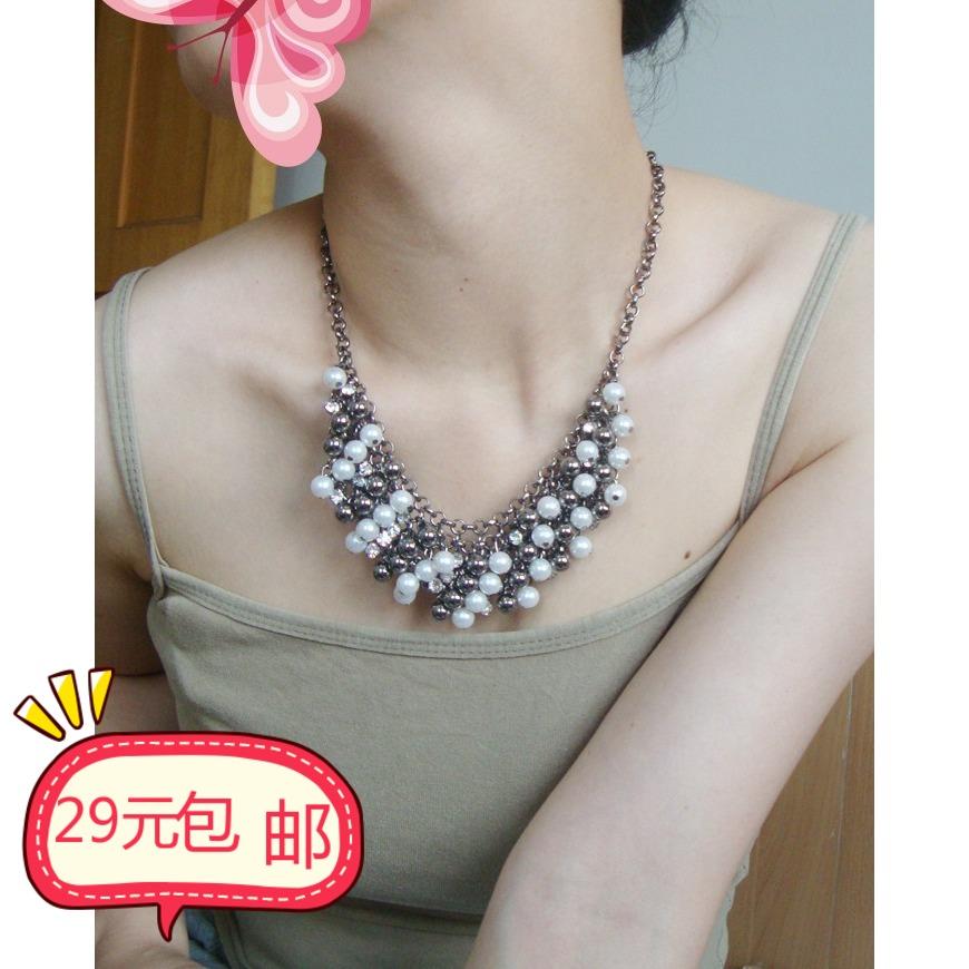 清仓特价2011新款项链欧美水钻珍珠女短款复古