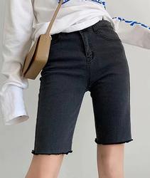 外贸女装 韩版时尚修身弹力显瘦高腰毛边五分裤牛仔短裤骑行裤女