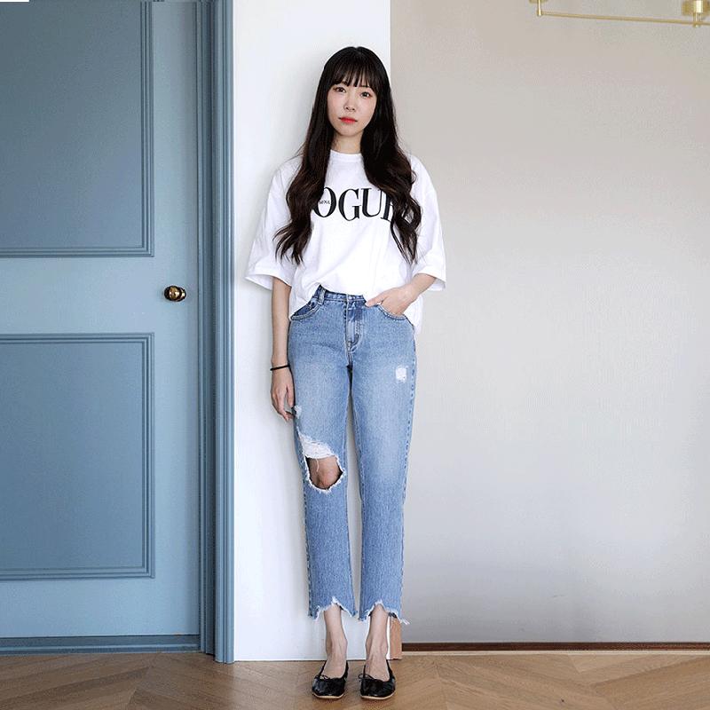 18新春韩版高腰直筒牛仔裤破洞不规则脚九分裤学院风新品