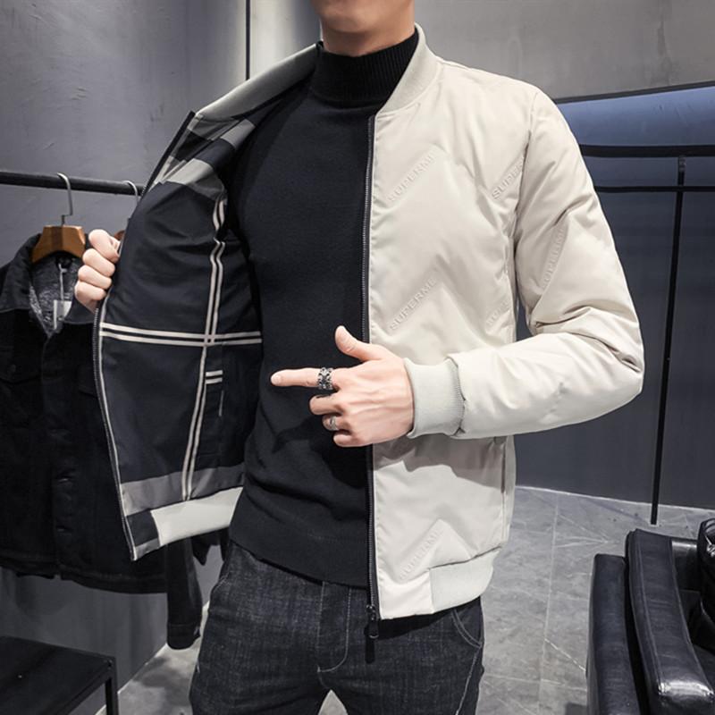 2019冬装韩版修身双面穿立领棉衣男小伙格子棉袄A460-1M013P125