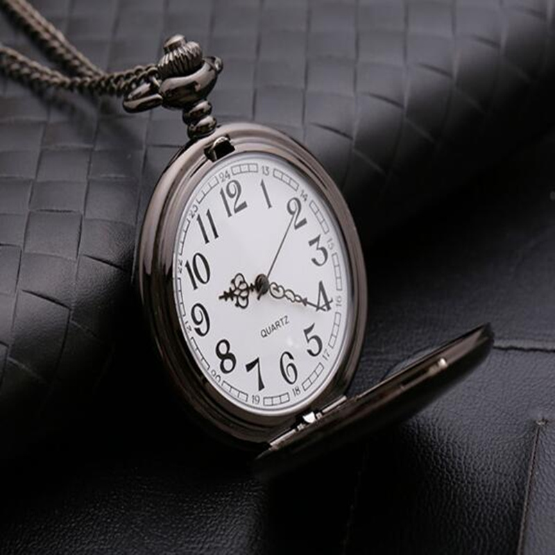 Trendy retro pocket watch fold mens Quartz Pocket Watch womens student creative glossy board wall watch lettering Watch