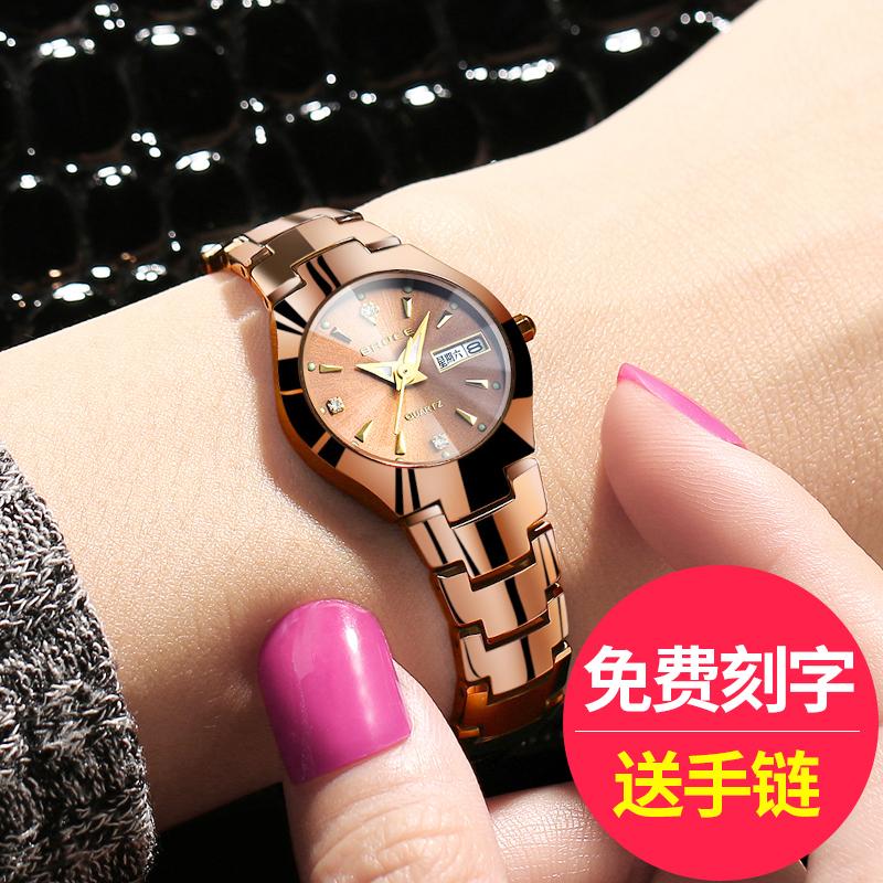 特价正品牌钨钢女士表手表女表防水韩版夜光潮流时尚简约女式学生