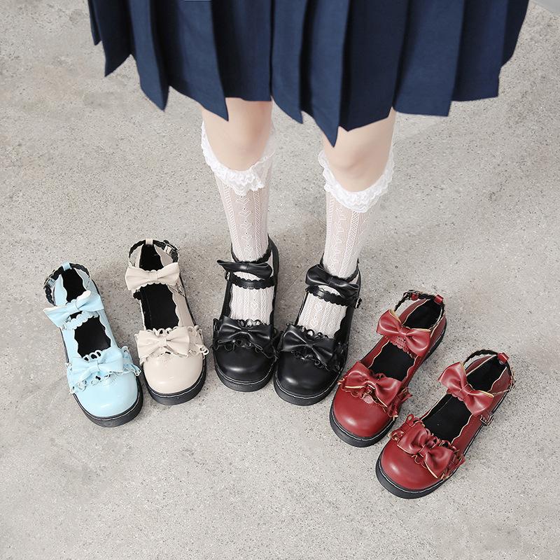 日系ソフト妹ロリータの小さい革靴の女性の2021年の森の女性の韓版のチョウは靴T 01を結びます