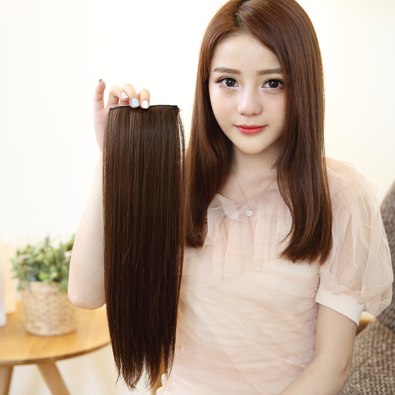 Wig piece female long hair both sides thick hair pad hair root fluffy straight hair a piece of traceless hair, top hair