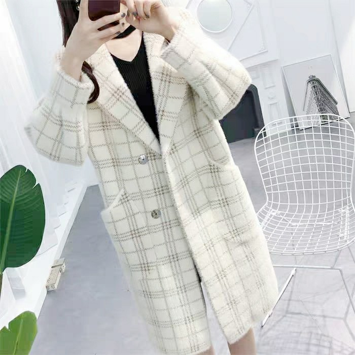 New mink fur plaid coat in fall / winter 2019 womens long lazy thin sweater thickened mink fur coat