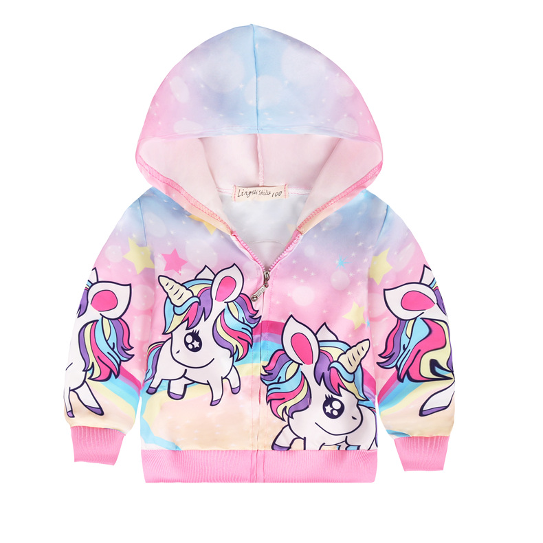 Girls sequined Unicorn jacket spring thin Hooded Baby Cute zipper top childrens jacket