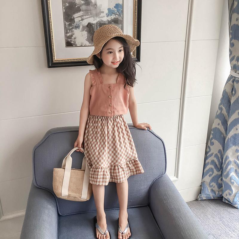 (用60元券)女童夏季套装2019新款中大童洋气吊带背心半身裙儿童夏装两件套潮