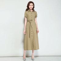夏装新品女士短袖连衣裙长裙修身显瘦加长款大码纯色职业气质裙子