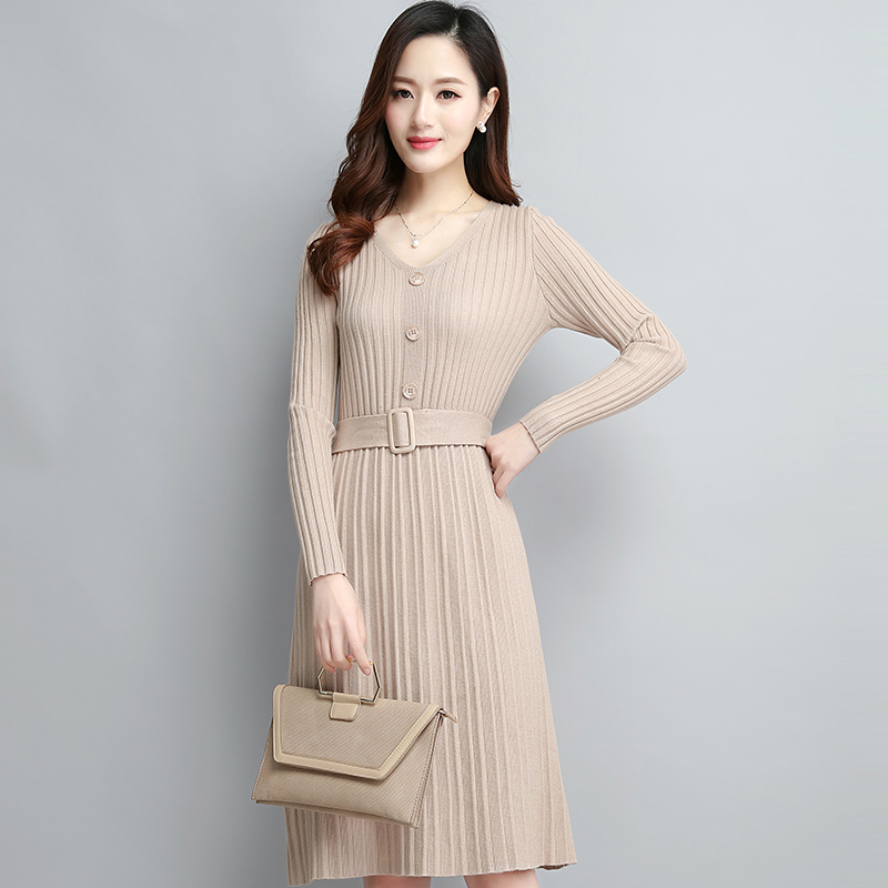 Knitted dress womens fall 2019 new Korean mid long autumn winter long sleeve V-neck woolen skirt bottoming shirt