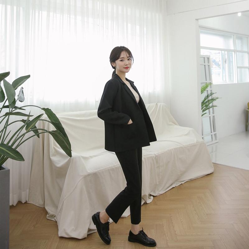 小西装外套女韩版2018新款时尚职业套装秋冬黑色显瘦大码西服正装