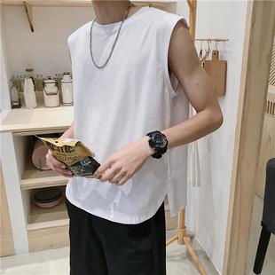 运动背心男士无袖t恤韩版宽松休闲纯色打底坎肩宽肩夏季青年潮牌