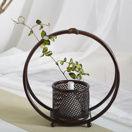 新中式手工花篮竹编花器花瓶茶艺插花禅意摆件日式复古家居装饰品