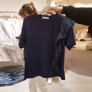 韩国东大门2021夏装时尚百搭网红荷叶边拼接短袖宽松T恤女上衣潮