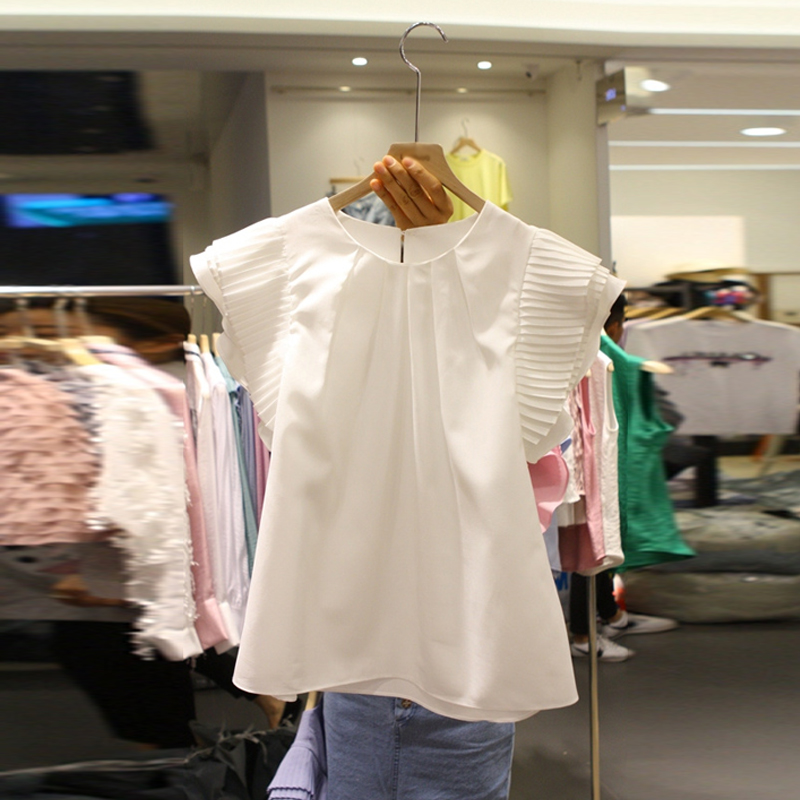 雪紡襯衫女短袖2019夏裝新款甜美飛飛袖小清新襯衣荷葉邊洋氣上衣