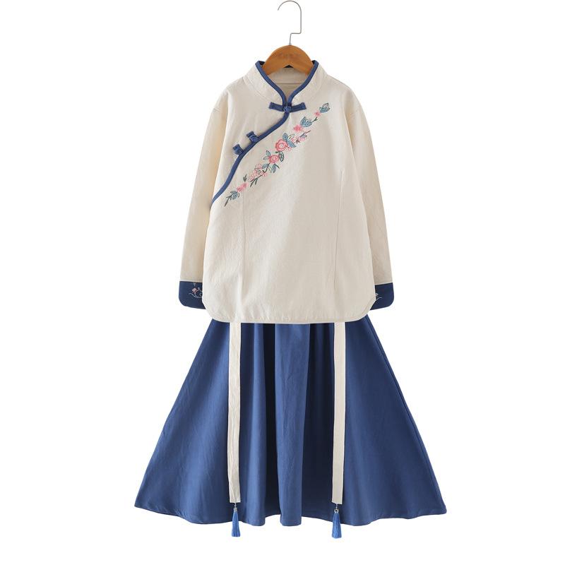 汉服女装复古装宝宝襦裙秋装改良唐装儿童中国风古风亲子装套装裙